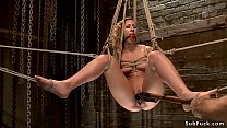 Babe ass oiled and hooked on hogtie