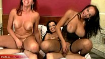 Stunning t-babes in shecock sucking and bareback foursome
