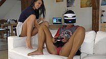 Playing a game on Playstation VR BFFs, while also playing with the small lace panties there