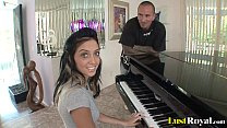 After a piano lesson Stephanie Cane gets satisfied