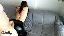 Babe fucks doggy in her ripped latex leggings - leather pants fetish صورة