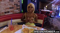 11129 4k Msnovember Flashing Her Titties, Eating Food, And Talking About A Scary Movie With Her Boyfriend To Avoid Him Talking About Her Cheating, Pulling Out Huge Natural Boobs With Black Nipples And Round Areolas Hd Sheisnovember preview