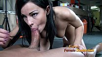 Dark haired femdom gives her slave a blowjob after ballbustin