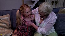 Blonde mature eating a hot teen pussy