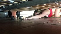Stepmom stuck under the bed gets creampie from ...