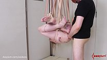 Bruised blond gets fed piss, then hung from her own bandages and fucked in the ass (Rebel Rhyder) ภาพขนาดย่อ
