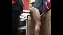 bisexual mark wright takes a large dildo in his ass balls deep in the kitchen and you can tell he likes it