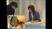 Japanese receptionist multi-tasking / chikan