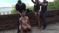 Two hot slaves d. in public