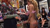 Spanish blonde slave fucked in public bar