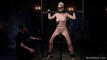 Blonde slave in stock rides Sybian thumbnail