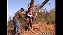 African busty slut tied to tree whipped maledom
