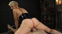 Blonde Milf dom anal fucks male partner