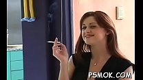 Naked chick smoking while wet