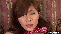 Brunette Asian cowgirl dildo fucks her wet pussy pie