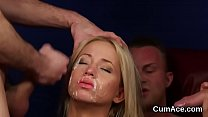 Wacky bombshell gets cumshot on her face swallowing all the love juice
