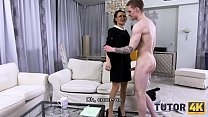 TUTOR4K. Tutor asked man to fuck her and forget about stepsons debt