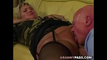 Grandpa pounds chubby granny pussy video