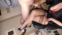 Teen Teacher with big tits handjob on her stockings