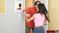 Disobedient latina stepdaughter punished by stepdad