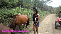 Heather Deep 4 wheeling on scary fast quad and Peeing next to horses in the jungle thumbnail