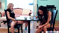 Gfs kiss and lick pussy in a public cafe