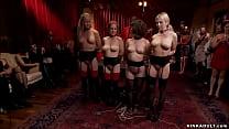 Hot slaves anal banged at bdsm party