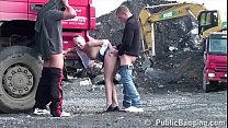 Hot petite blonde girl public sex gang bang threesome orgy with 2 guys