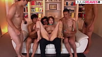 Japanese husband let 4 guys fuck his wife with massive facials afterwards