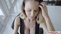Big boobed MILF stepmother mixing breakfast and blowjob