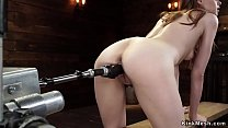 Hot brunette takes machine from behind thumbnail
