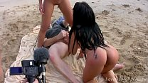 Lucky Guy Bangs Two Exotic Beauties On Beach | Blowjobjosie thumbnail