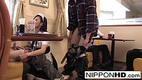 Hot Japanese babe Blows two dudes