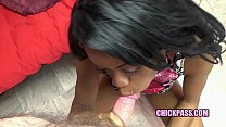 ChickPass - Ebony housewife Melody Cummings is giving Logan a blowjob