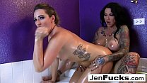 Hot lesbian oil session in the bathtub