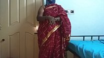 desi  indian tamil telugu kannada malayalam hindi horny cheating wife vanitha wearing cherry red colour saree showing big boobs and shaved pussy press hard boobs press nip rubbing pussy masturbation