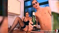 NAUGHTY MILF pisses, gets fucked and eats cum in the kitchen!