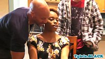 Ebony tgirl spitroasted in sensual threesome video