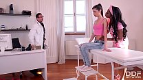 Sizzling hot ebony Dominatrix Jasmine Webb humiliates Gina with horny Doc