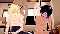 Yaoi Hentai 3D Orgy - Two NekoBoys are Fucked by a Foxboy and WolfBoy, they cums in their ass