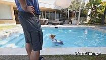 Teen ginger ass on black dark by the pool Vorschaubild