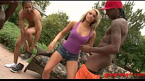 Blond skank Aleska gets double stuffed by BBC outdoors