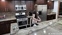 Buxom MILF Brianna Rose gives stepson a hot handjob in the kitchen