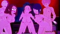 Boku No Hero Hentai - Orgy Yaoyorozu  Momo, Ochako Uraraka & Kyoka Jiro With Deku, Todoroki & Bakugou with crempie 3D Cartoon Anime