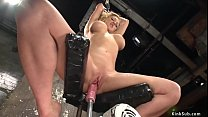 Busty tied blonde is machine fucked