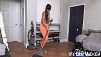 Big ass latina MILF maid gobbles and bounces on hard cock