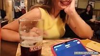 HE CONTROLLS HER BLUETOOTH VIBRATOR IN PUB| Western guy & Mia Natalia Videos