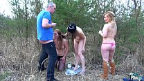 Three naughty chicks ride agent one by one till he cum on them