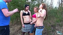 Three naughty chicks ride agent one by one till he cum on them image