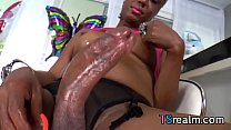 Black Tranny Holly Hung Rubs One Out